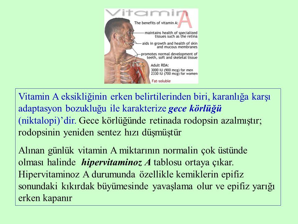 Vitamin A eksikliğinin erken belirtilerinden biri, karanlığa karşı adaptasyon bozukluğu ile karakterize gece körlüğü (niktalopi)'dir. Gece körlüğünde retinada rodopsin azalmıştır; rodopsinin yeniden sentez hızı düşmüştür