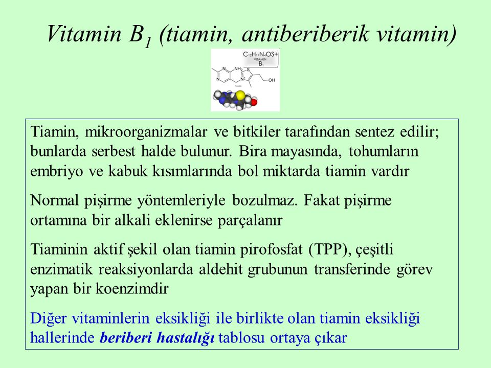 Vitamin B1 (tiamin, antiberiberik vitamin)