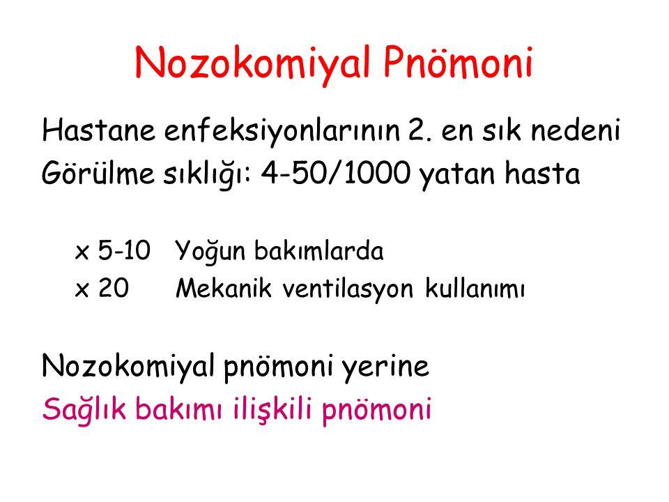 Nozokomiyal Pnömoni Hastane enfeksiyonlarının 2. en sık nedeni