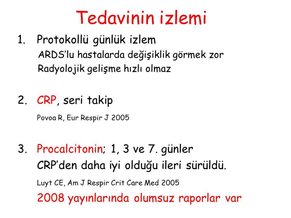 Tedavinin izlemi 1. Protokollü günlük izlem 2. CRP, seri takip
