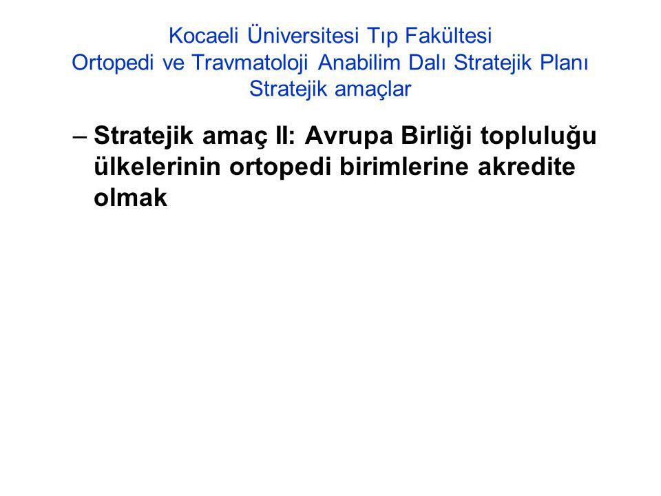 Kocaeli Üniversitesi Tıp Fakültesi Ortopedi ve Travmatoloji Anabilim Dalı Stratejik Planı Stratejik amaçlar