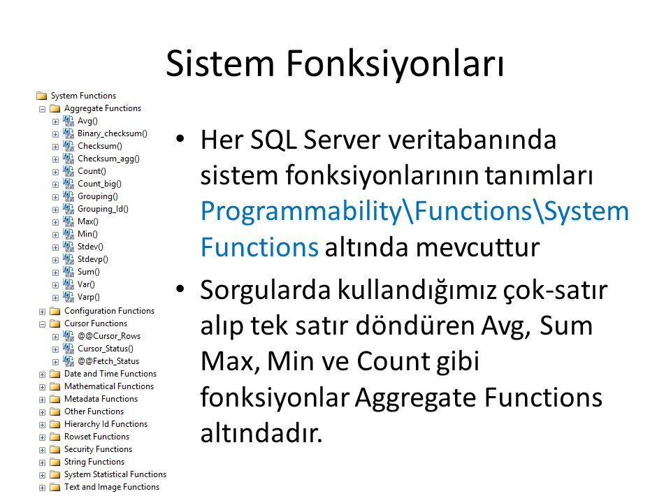 Sistem Fonksiyonları Her SQL Server veritabanında sistem fonksiyonlarının tanımları Programmability\Functions\System Functions altında mevcuttur.