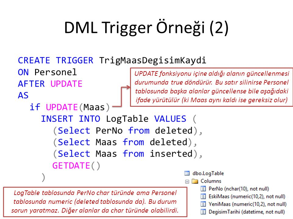 DML Trigger Örneği (2) CREATE TRIGGER TrigMaasDegisimKaydi ON Personel