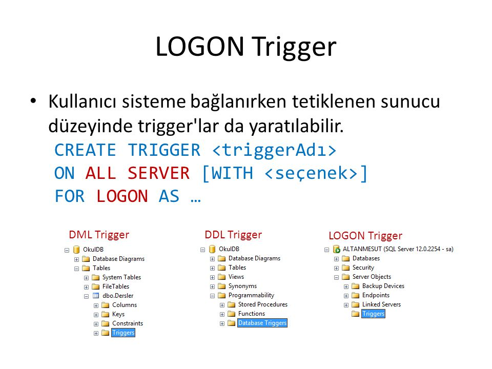LOGON Trigger Kullanıcı sisteme bağlanırken tetiklenen sunucu düzeyinde trigger lar da yaratılabilir.