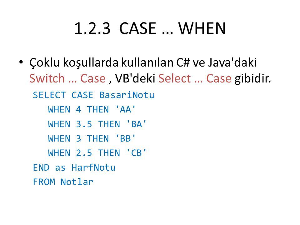1.2.3 CASE … WHEN Çoklu koşullarda kullanılan C# ve Java daki Switch … Case , VB deki Select … Case gibidir.