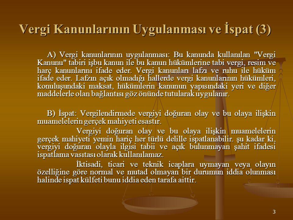 Vergi Kanunlarının Uygulanması ve İspat (3)