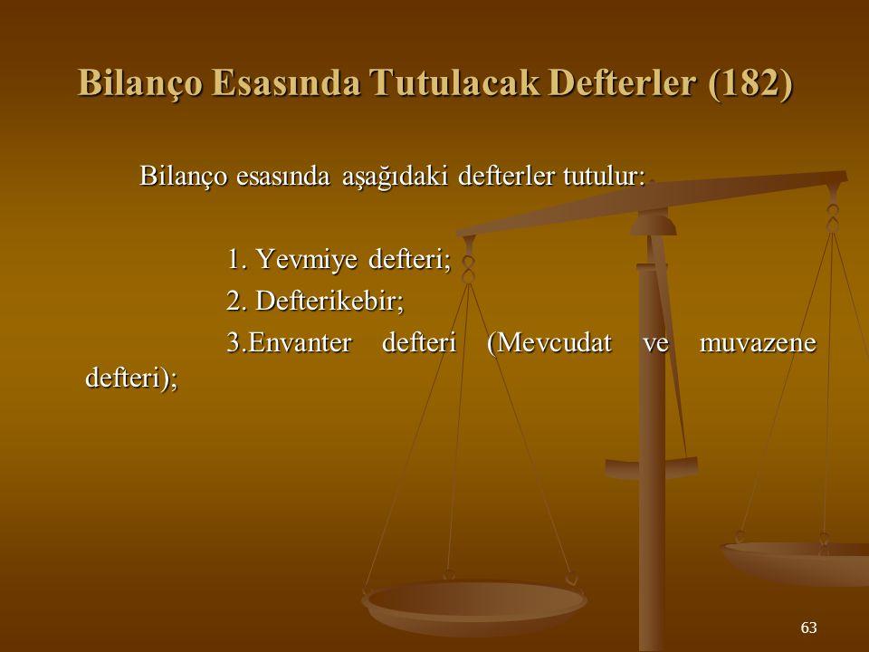 Bilanço Esasında Tutulacak Defterler (182)