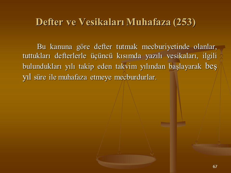 Defter ve Vesikaları Muhafaza (253)