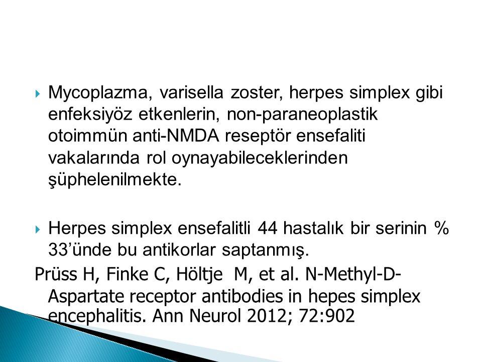 Mycoplazma, varisella zoster, herpes simplex gibi enfeksiyöz etkenlerin, non-paraneoplastik otoimmün anti-NMDA reseptör ensefaliti vakalarında rol oynayabileceklerinden şüphelenilmekte.