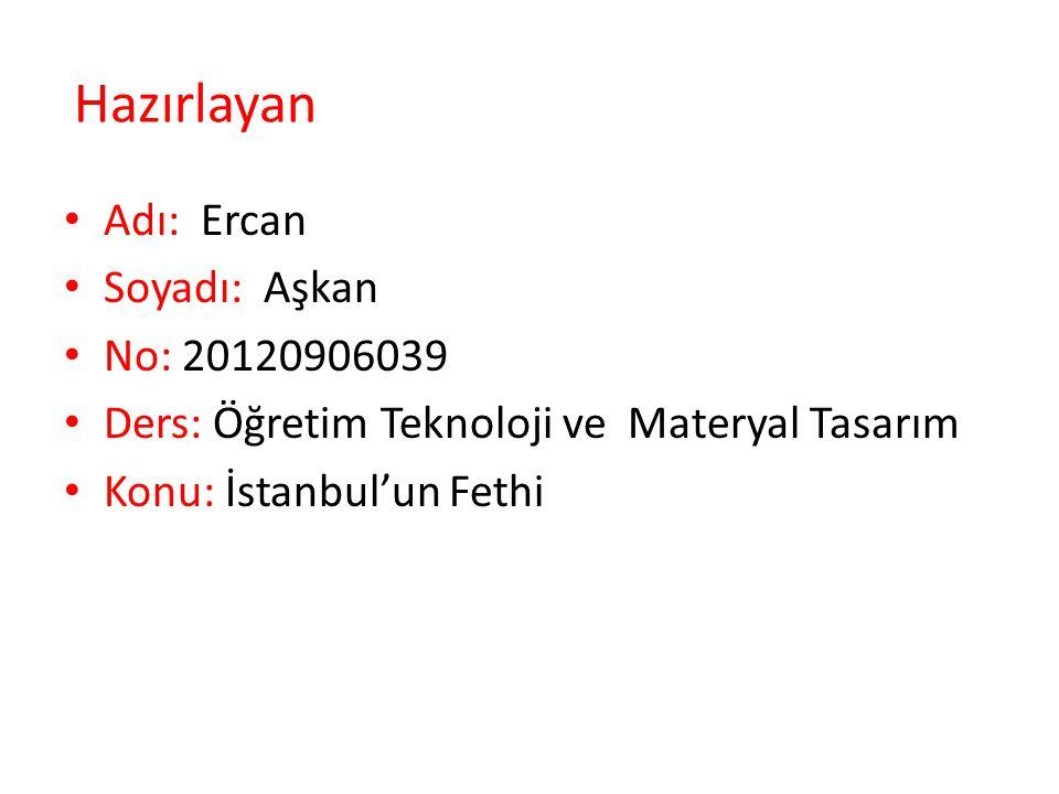 Hazırlayan Adı: Ercan Soyadı: Aşkan No: 20120906039