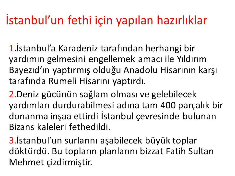 İstanbul'un fethi için yapılan hazırlıklar