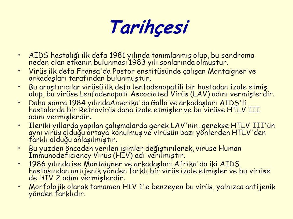 Tarihçesi AIDS hastalığı ilk defa 1981 yılında tanımlanmış olup, bu sendroma neden olan etkenin bulunması 1983 yılı sonlarında olmuştur.