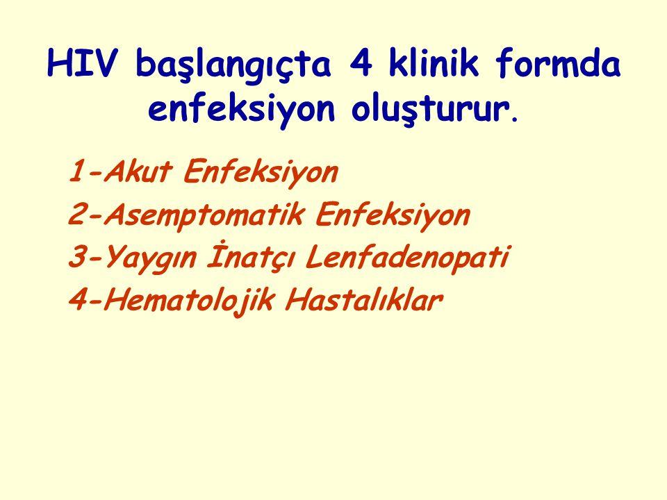 HIV başlangıçta 4 klinik formda enfeksiyon oluşturur.