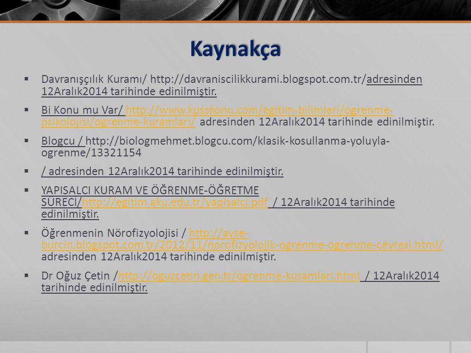 Kaynakça Davranışçılık Kuramı/ http://davraniscilikkurami.blogspot.com.tr/adresinden 12Aralık2014 tarihinde edinilmiştir.