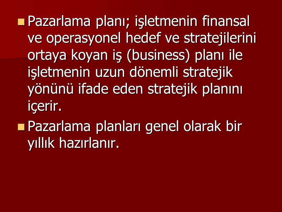 Pazarlama planı; işletmenin finansal ve operasyonel hedef ve stratejilerini ortaya koyan iş (business) planı ile işletmenin uzun dönemli stratejik yönünü ifade eden stratejik planını içerir.
