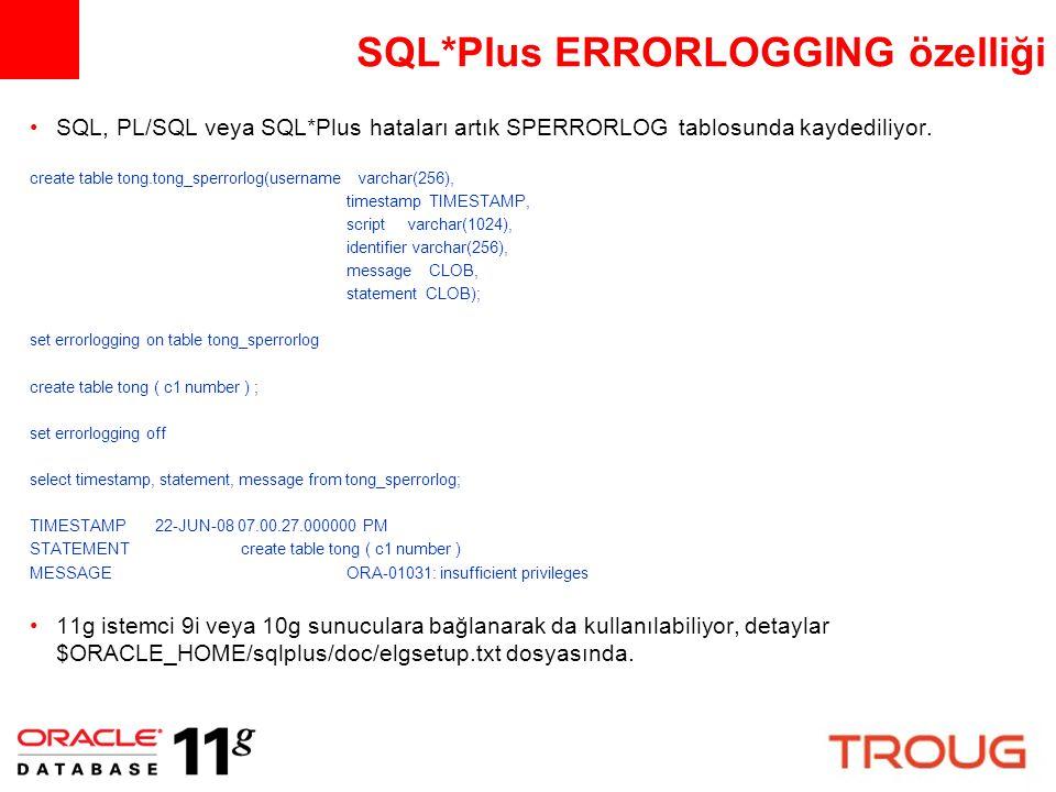SQL*Plus ERRORLOGGING özelliği