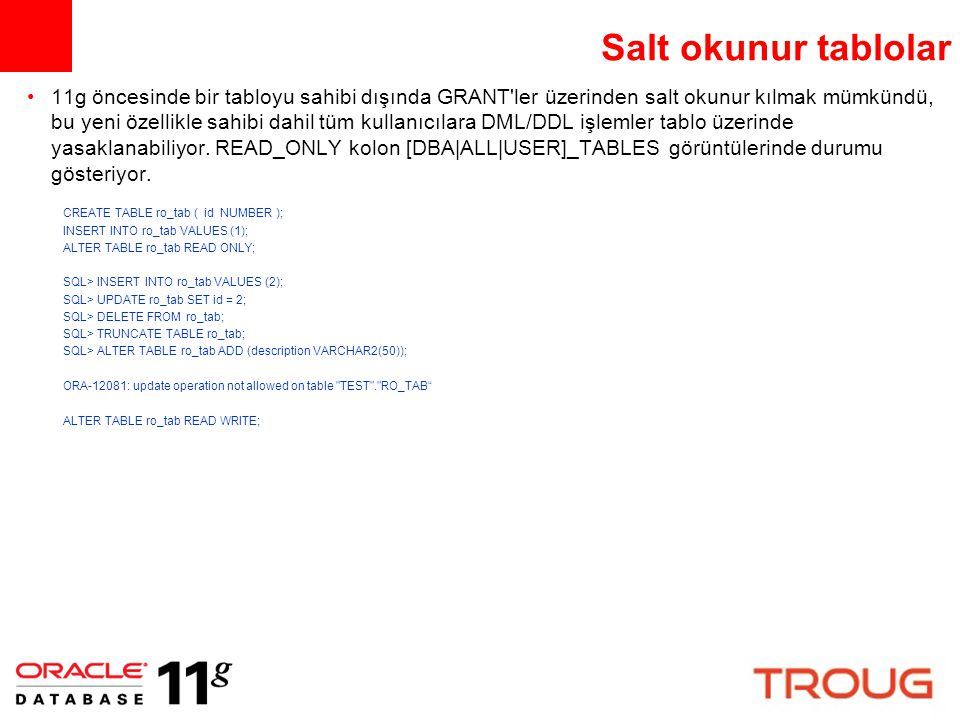 Salt okunur tablolar