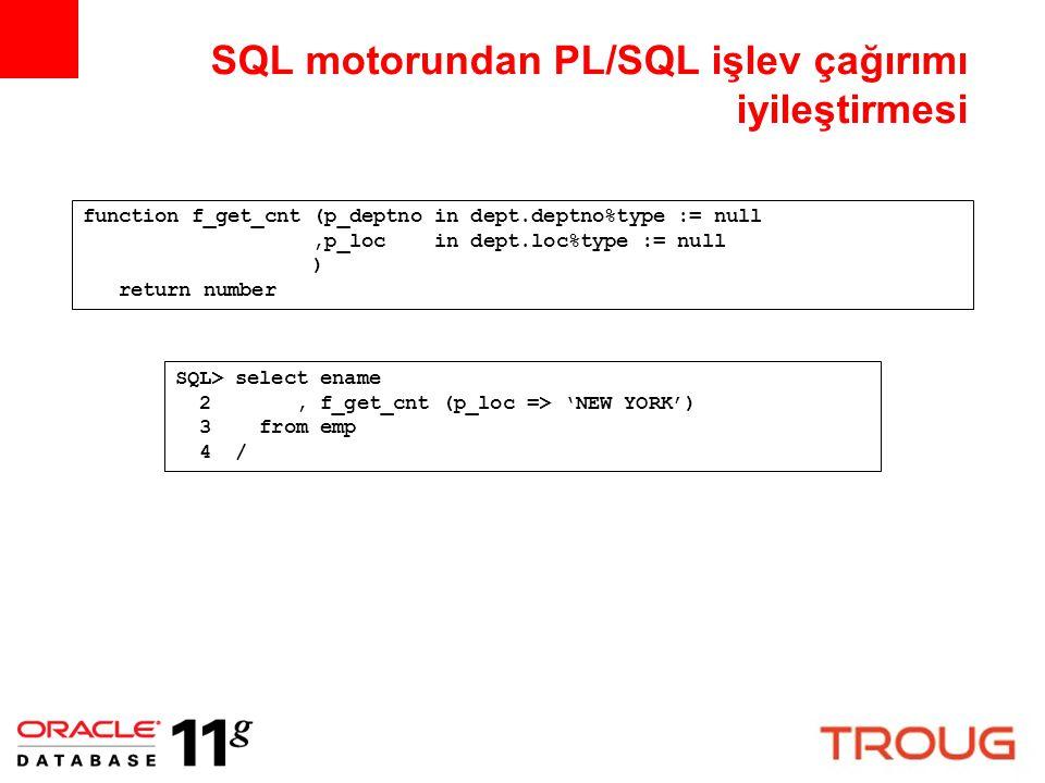 SQL motorundan PL/SQL işlev çağırımı iyileştirmesi