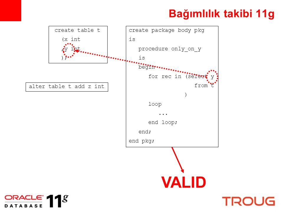 VALID Bağımlılık takibi 11g create table t (x int ,y int );