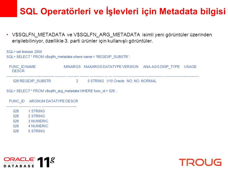 SQL Operatörleri ve İşlevleri için Metadata bilgisi