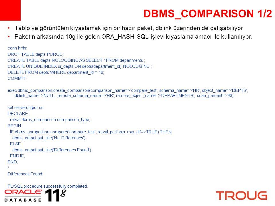 DBMS_COMPARISON 1/2 Tablo ve görüntüleri kıyaslamak için bir hazır paket, dblink üzerinden de çalışabiliyor.