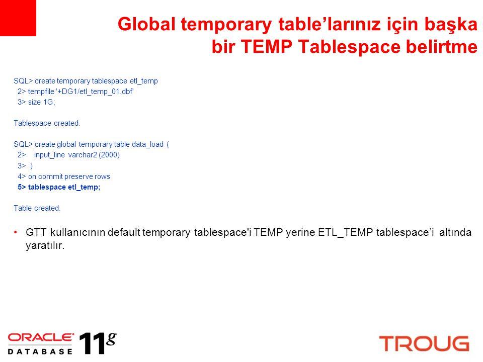Global temporary table'larınız için başka bir TEMP Tablespace belirtme