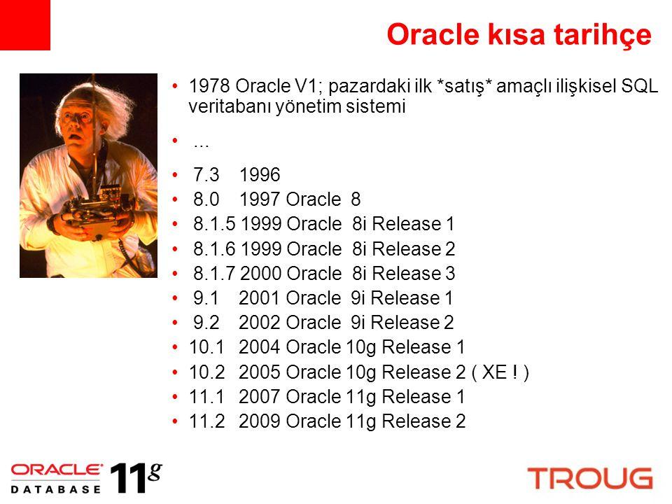 Oracle kısa tarihçe 1978 Oracle V1; pazardaki ilk *satış* amaçlı ilişkisel SQL veritabanı yönetim sistemi.