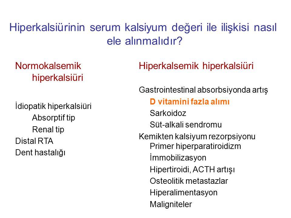 Hiperkalsiürinin serum kalsiyum değeri ile ilişkisi nasıl