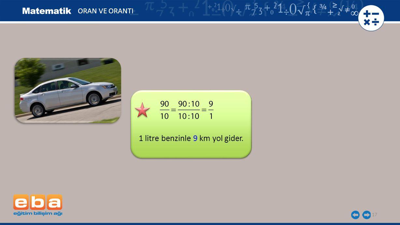 1 litre benzinle 9 km yol gider.