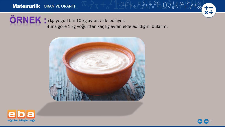 ÖRNEK : 5 kg yoğurttan 10 kg ayran elde ediliyor.