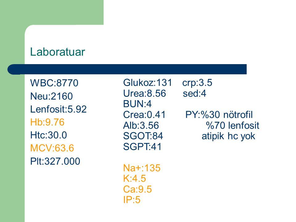 Laboratuar WBC:8770 Glukoz:131 crp:3.5 Neu:2160 Urea:8.56 sed:4 BUN:4