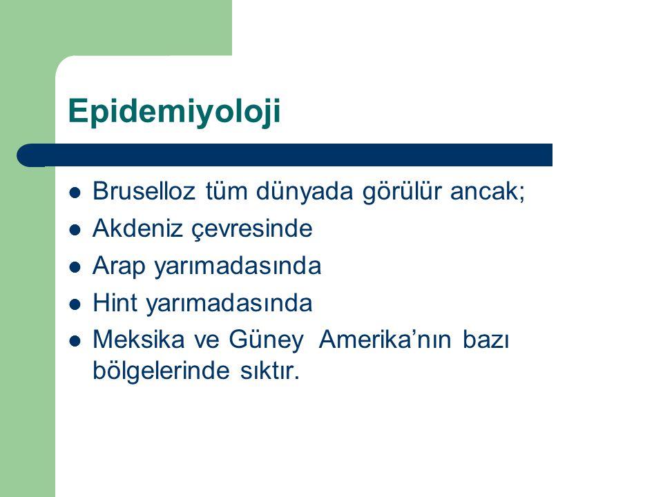Epidemiyoloji Bruselloz tüm dünyada görülür ancak; Akdeniz çevresinde
