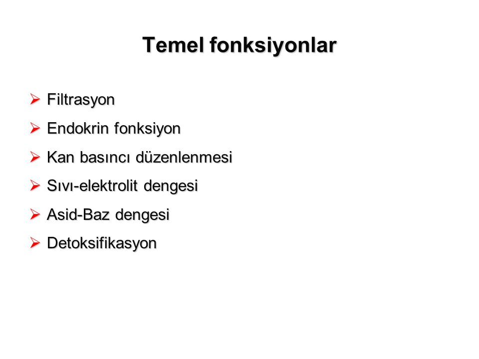 Temel fonksiyonlar Filtrasyon Endokrin fonksiyon