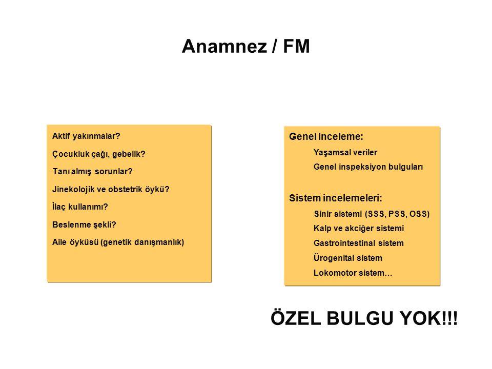 Anamnez / FM ÖZEL BULGU YOK!!! Genel inceleme: Sistem incelemeleri: