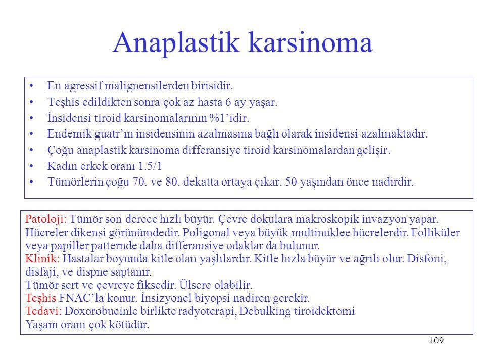 Anaplastik karsinoma En agressif malignensilerden birisidir.
