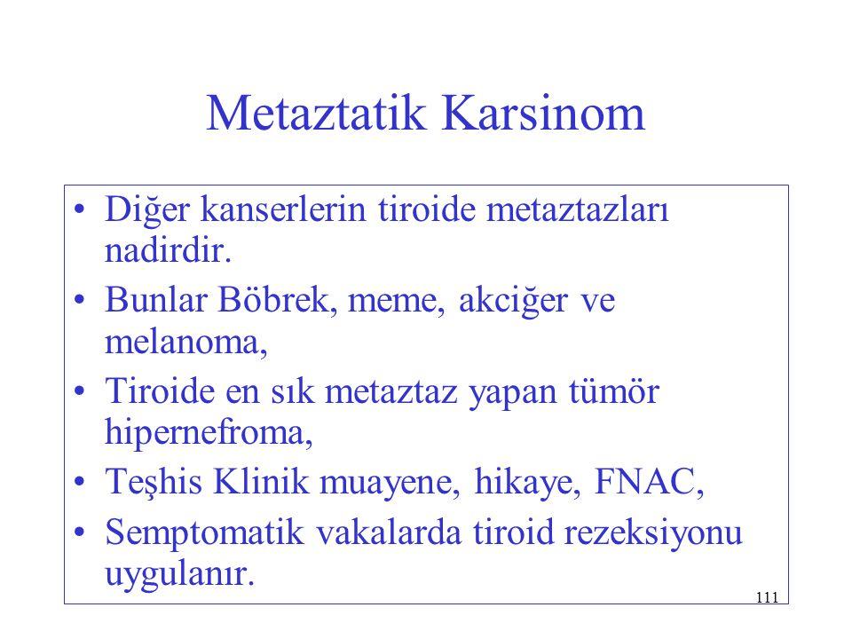 Metaztatik Karsinom Diğer kanserlerin tiroide metaztazları nadirdir.