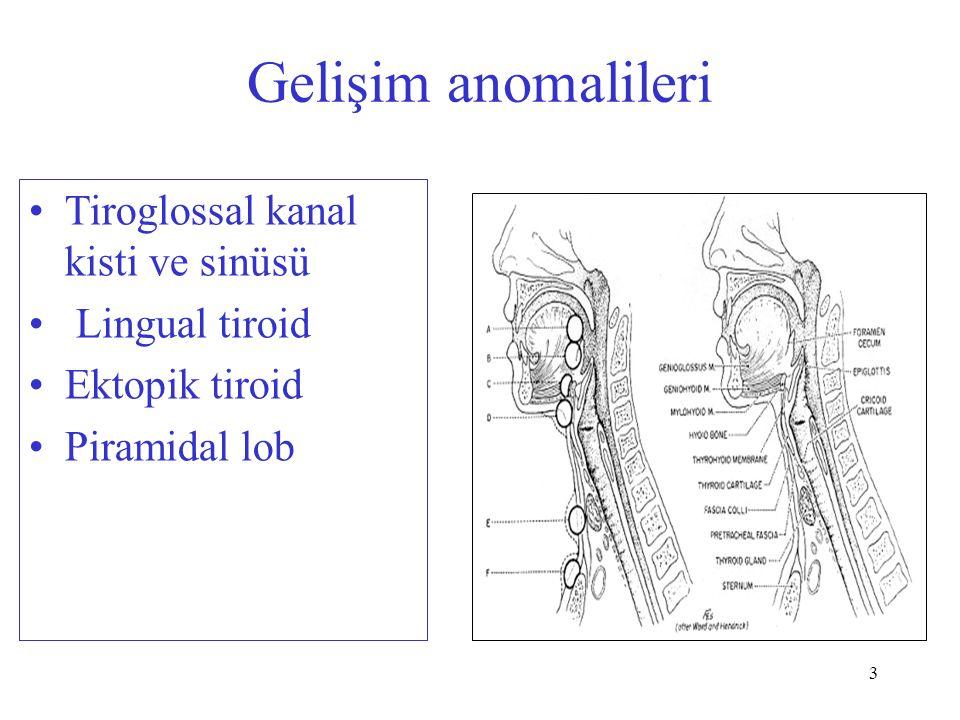 Gelişim anomalileri Tiroglossal kanal kisti ve sinüsü Lingual tiroid