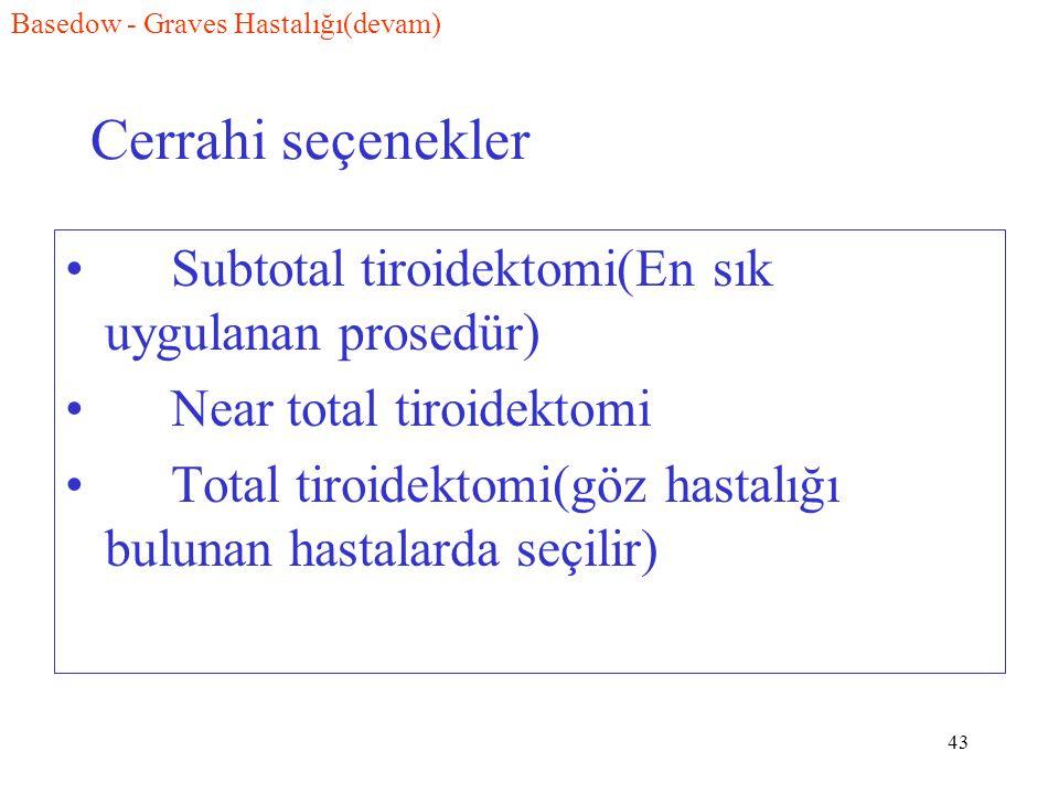 Cerrahi seçenekler Subtotal tiroidektomi(En sık uygulanan prosedür)