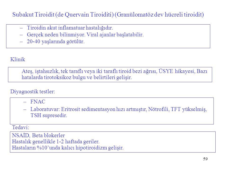 Subakut Tiroidit (de Quervain Tiroiditi) (Granülomatöz dev hücreli tiroidit)