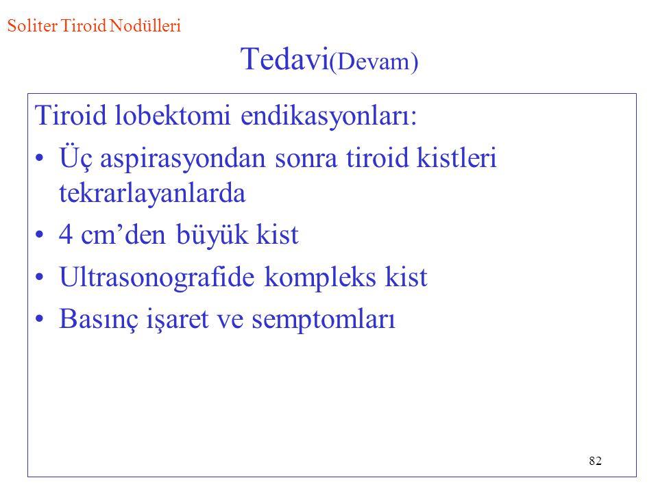 Tedavi(Devam) Tiroid lobektomi endikasyonları: