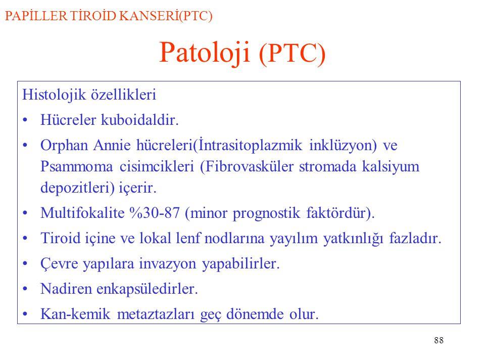 Patoloji (PTC) Histolojik özellikleri Hücreler kuboidaldir.