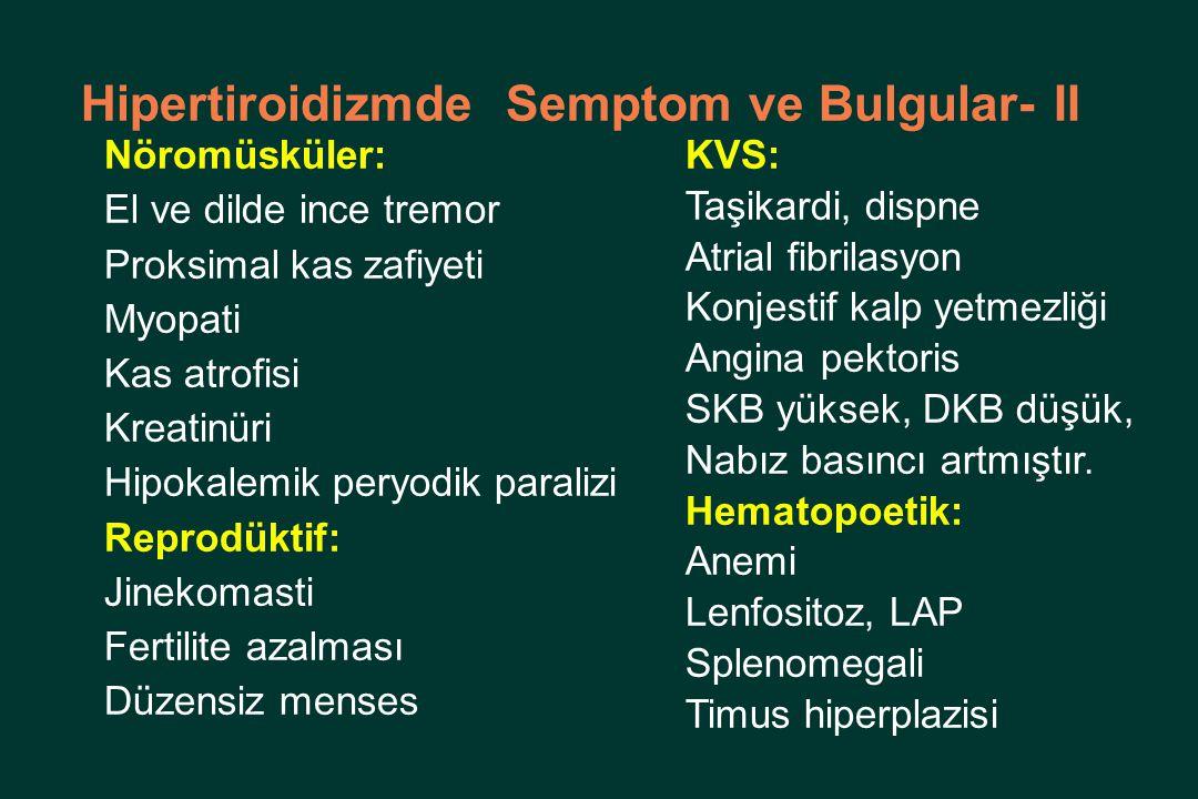 Hipertiroidizmde Semptom ve Bulgular- II