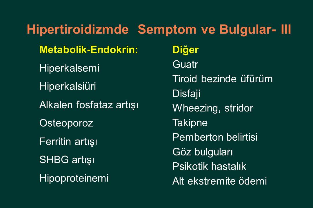 Hipertiroidizmde Semptom ve Bulgular- III