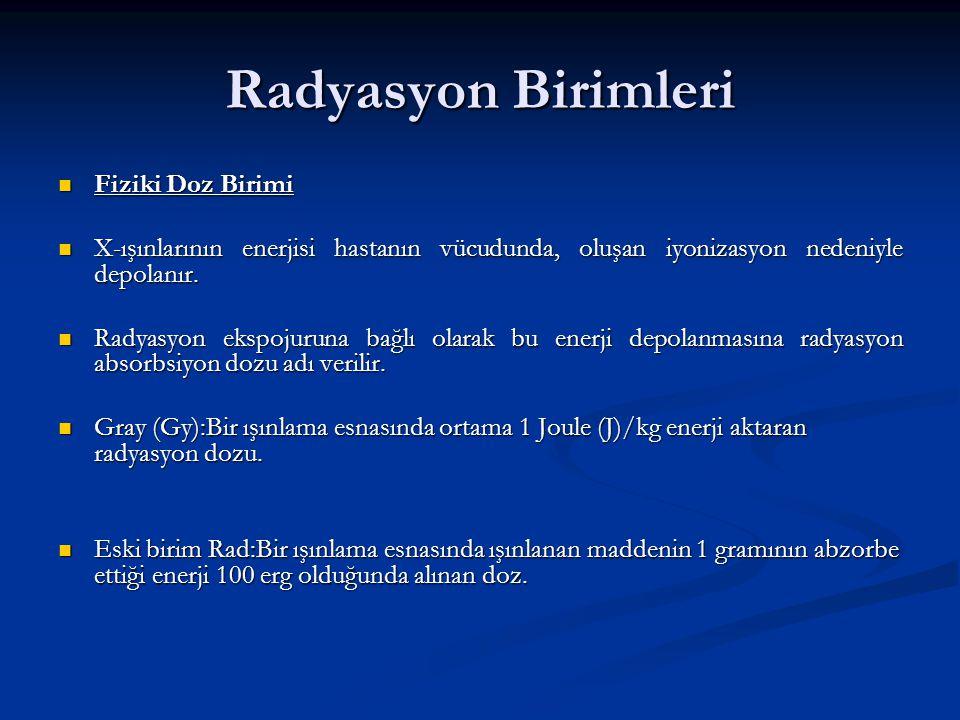 Radyasyon Birimleri Fiziki Doz Birimi