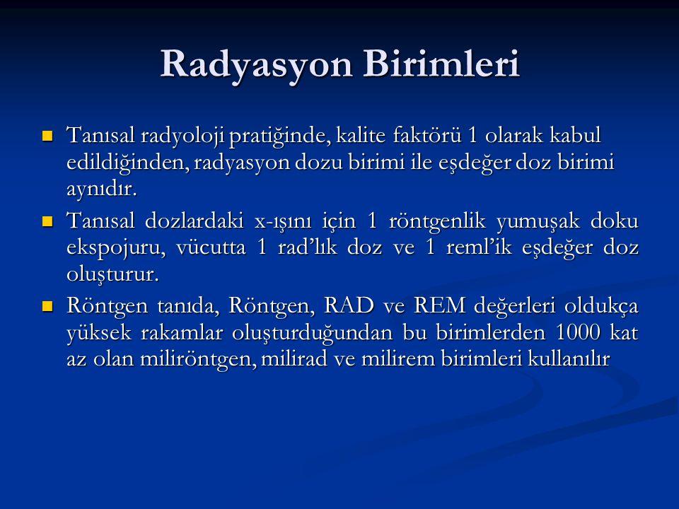 Radyasyon Birimleri Tanısal radyoloji pratiğinde, kalite faktörü 1 olarak kabul edildiğinden, radyasyon dozu birimi ile eşdeğer doz birimi aynıdır.