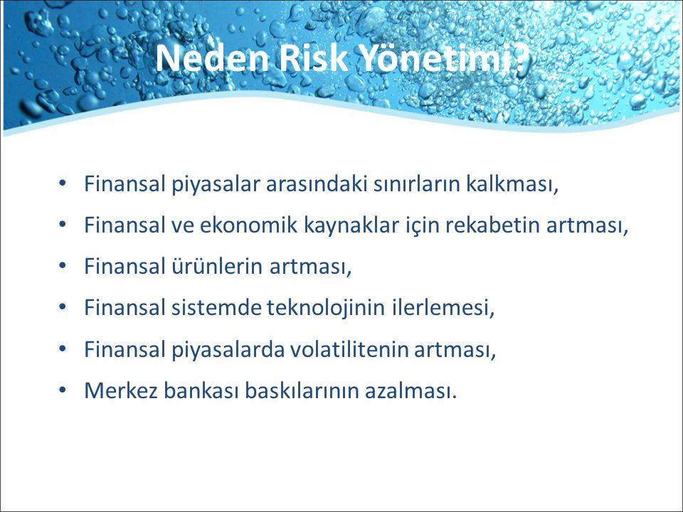 Neden Risk Yönetimi Finansal piyasalar arasındaki sınırların kalkması, Finansal ve ekonomik kaynaklar için rekabetin artması,