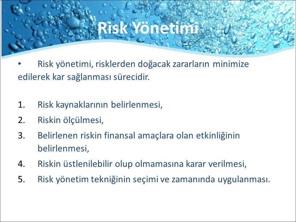 Risk Yönetimi Risk yönetimi, risklerden doğacak zararların minimize