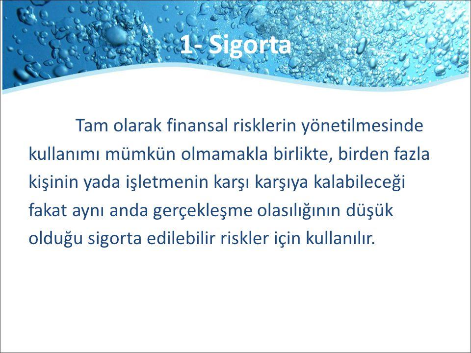1- Sigorta Tam olarak finansal risklerin yönetilmesinde