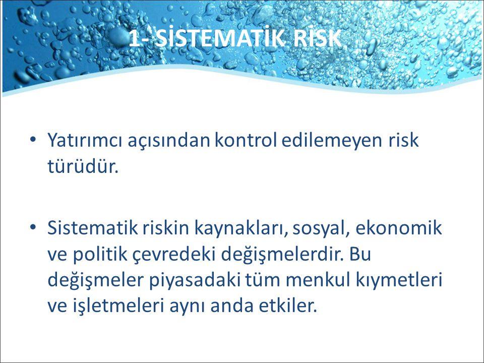 1- SİSTEMATİK RİSK Yatırımcı açısından kontrol edilemeyen risk türüdür.