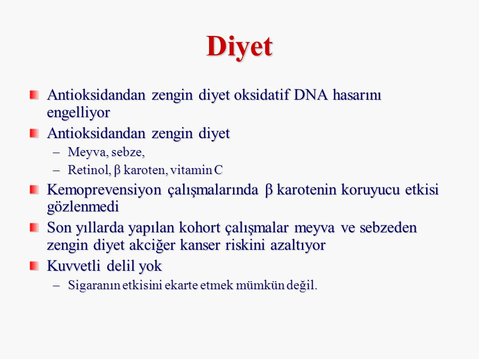 Diyet Antioksidandan zengin diyet oksidatif DNA hasarını engelliyor